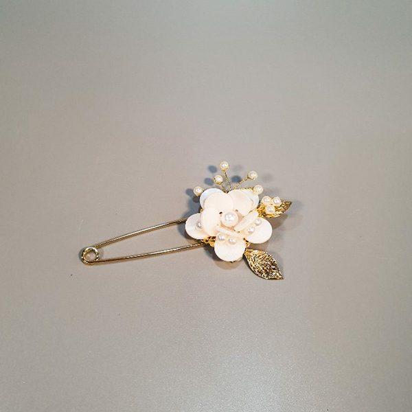 꽃 자개 브로치