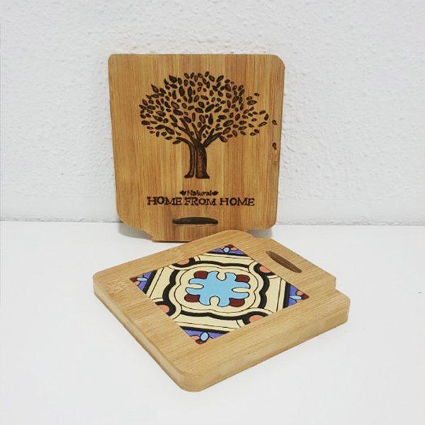 대나무 타일 냄비 받침대